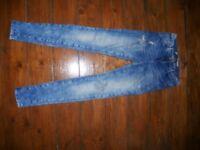 Long Skinny Ripped Light Blue Jeans