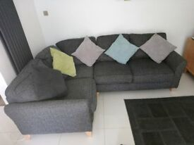 Grey corner sofa. Debenhams - Tweedy weave 'Abbeville' corner sofa
