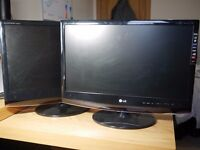 "2x LG M2262D 22"" Full HD LCD Monitor TV - TV/Computer dual monitor setup for laptops and desktops"