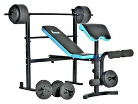 Mens Health Folding Bench & Preacher 50KG Weights
