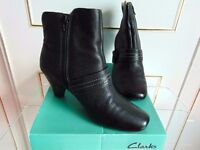 Clarks Black Leather Ankle Boots. (Size 6, E Fit) .......Only worn once, complete with original box.