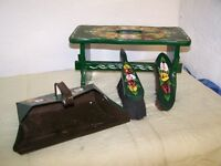hand painted stool and dust pan and brush