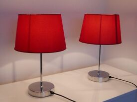 Two bedside lamps plus lamp shade, including bulbs, red, excellent condition