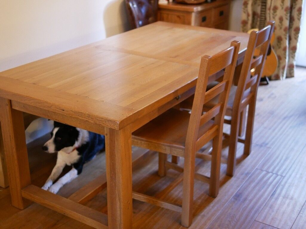 Oak Refectory Dining Kitchen Table With 5 Oak Chairs And