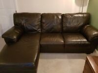 BROWN LEATHER CORNER SOFA WITH CHAISE - EXCELLENT CONDITION - CAN BE DELIVERED - MUST GO NOW - £275