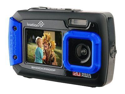 Ivation Blue 20MP Underwater Shockproof Digital Camera & Video Camera