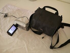 Jvc Everio hd video camera with lowepro bag. 35x optical zoom, takes 2 sd cards. £45