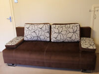 Dark brown sofa bed with storage 2 seater 3 seater 4 seater