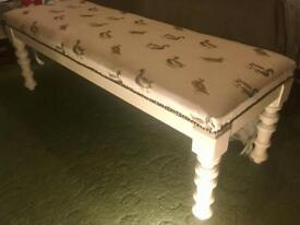 Antique Large stool/Bench reupholstered in duck fabric