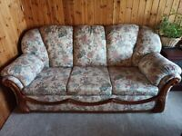 3 Piece floral sofa, very nice condition, very rarely used, in spare l
