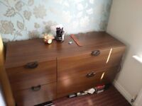 Chest of Drawers Cabinet Wood Walnut bedsit wardrobe bedroom