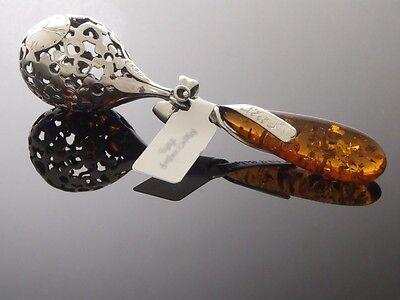 Babyrassel Silber 925 mit Bernstein Taufe, Geburt, 2 Farben (Cognac, Zitrone)