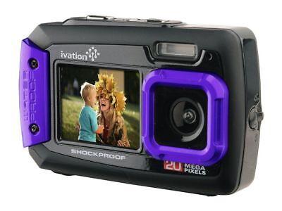 Ivation Purple 20MP Underwater Shockproof Digital Camera & Video Camera