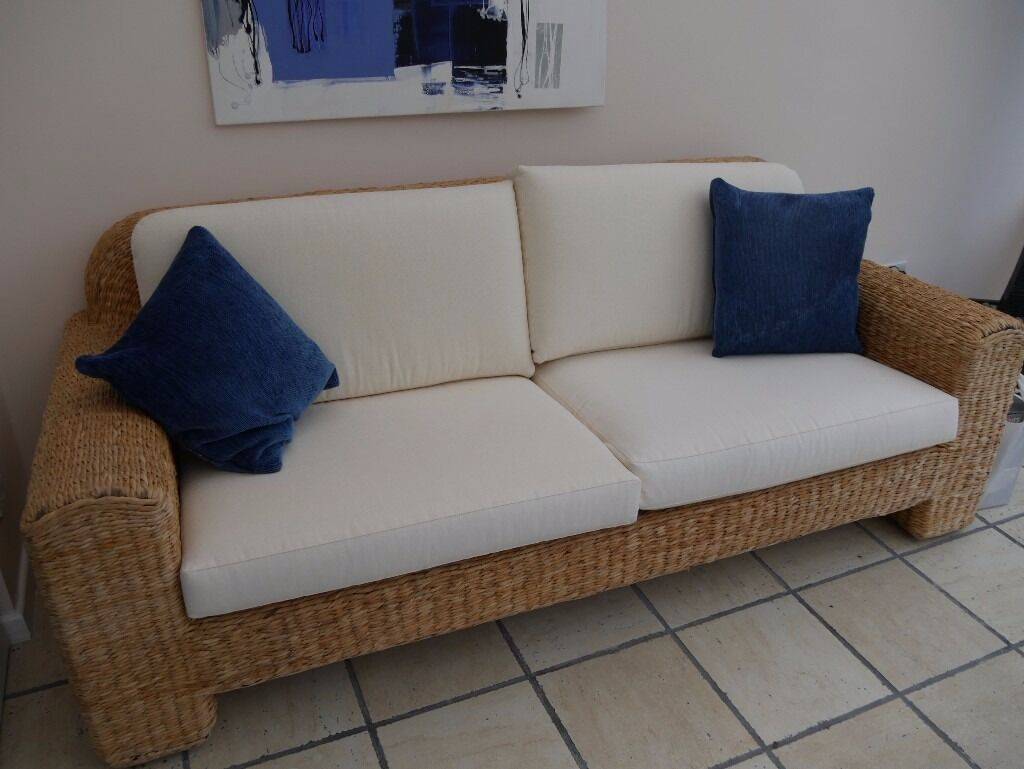 Stylish Banana Leaf And Cream Sofa Ideal For A Conservatory