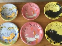 Whittard of Chelsea set of cat plates and bowls.