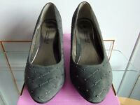 """Comfort Plus""Court Shoes, Grey Suede.(Size 6) Wider fit footwear. (Worn once,minor scuffs to heels)"