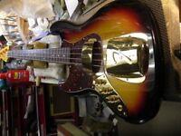Japan Left Handed Fender Jazz Bass / John East Pre Amp