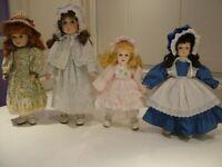 Dolls, 4 - collectors, porcelain with soft bodies