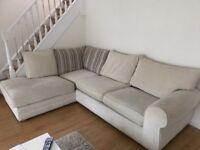 Cream corner sofa with matching armchair (Fenwicks)