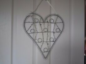 Grey/Blue wire heart photo display holder