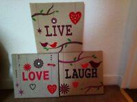 Live, Laugh, Love frames pictures