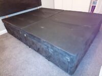 Charcoal Grey Divan Base with 4 drawers and headboard - near new