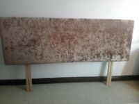 Headboard double bed fawn velour excellent condition smoke free home 5ft £30