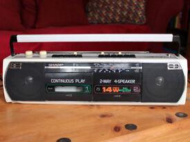SHARP WQ-268E (W) PORTABLE STEREO RADIO DOUBLE CASSETTE PLAYER BOOM BOX