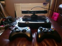 Xbox360 slim console 250GB ,Kinect,2 wireless controllers,plus 42 games pus headset