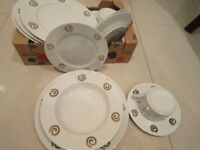 White and silver dinner set- 20 pcs,Christmas extra plates cups, bowls, saucers- excellent condition