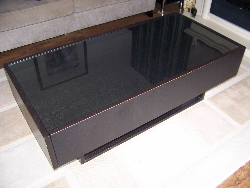 Ikea Rationell Variera Plastic Bag Dispenser ~ Sturdy glass top Ikea coffee table black brown two deep drawers good