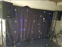 BARGAIN Stage, Speakers, Mic & Light Up Backdrop