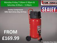 Sealey Compressor 50ltr Belt Drive 2hp Oil Free