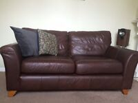 Good Quality Leather Sofa (M&S), Brown, large two seater, comfortable