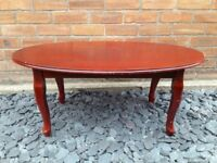 Solid Pine Red Oval Living Room Coffee Table