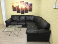 Elegant Dark Brown Leather Corner Sofa