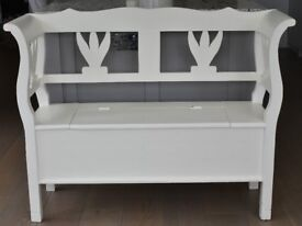 Painted Wooden Storage Bench / Settle / Monksbench