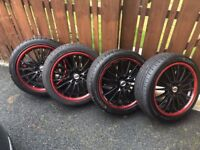 "18"" Dynamics Black with Red Trim Wheels all with brand new tyres"