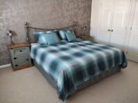 Super king size bed (headboard, bed base and memory foam mattress)