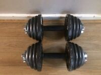 SET OF SOLID BAR DUMBELLS WITH 24KG OF CAST IRON WEIGHTS