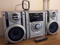 PANASONIC 200 WATT STEREO MINI SOUND SYSTEM 5-CD changer, mp3, cassette, radio, hi-fi, hifi SC-AK230