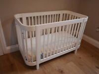 Stylish Kub cot bought at John Lewis + Kub mattress + 4 organic cotton John Lewis fitted sheets