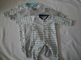 0-3 months sleepsuit and vest bundle, 8 items in total