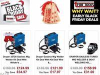 Draper 32728 Gasless Mig Welder Kit Deal With Welder's Red Leather Gauntlets