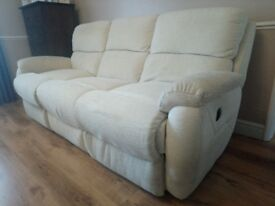 white electric reclining sofa
