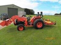 KUBOTA L4100 COMPACT TRACTOR,4x4,GENUINE 80hrs,42hp,LOADER,TEAGLE 6ft FINISHING MOWER,NO VAT TO PAY