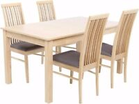 4-6 Seat Extending Dining Table with 4 Chairs - Beech Effect