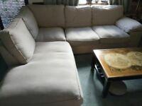 Oatmeal coloured linen corner sofa unit