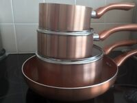 4pc copper pan set induction halogen gas electric NO OIL NEEDED
