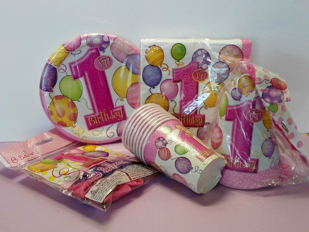 """1st Birthday Girl Basic Party Kitin Luton, BedfordshireGumtree - 1st party kits feature plates, napkins, cups, hats and balloons. • 8 guests kit includes • 8 x 1st Birthday Girl party plates 7"""" • 8 x 1st Birthday Girl party cups • 8 x 1st Birthday Girl party hats • 8 x 1st Birthday Girl party balloons..."""